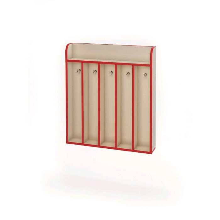 Вешалка настенная на 5 крючков «Азбука», 696 × 124 × 790 мм, цвет бежевый / красный
