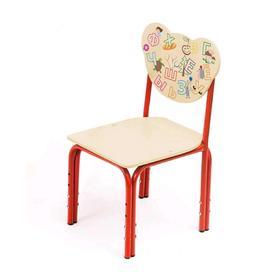 Детский стул «Кузя. Азбука», регулируемый, группа 1-3, УФ-печать, цвет бежевый / красный Ош