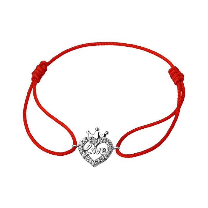 Браслет-оберег Красная нить сердце в короне, посеребрение ,d7см