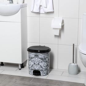 Ведро для мусора с педалью «Серебро», 12 л, цвет чёрный