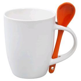 Кружка с ложкой, 300 мл, белая с оранжевой