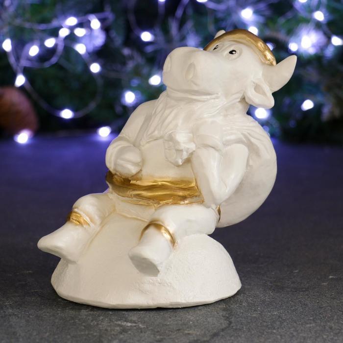 Копилка Символ года Бык Дед Мороз белое золото