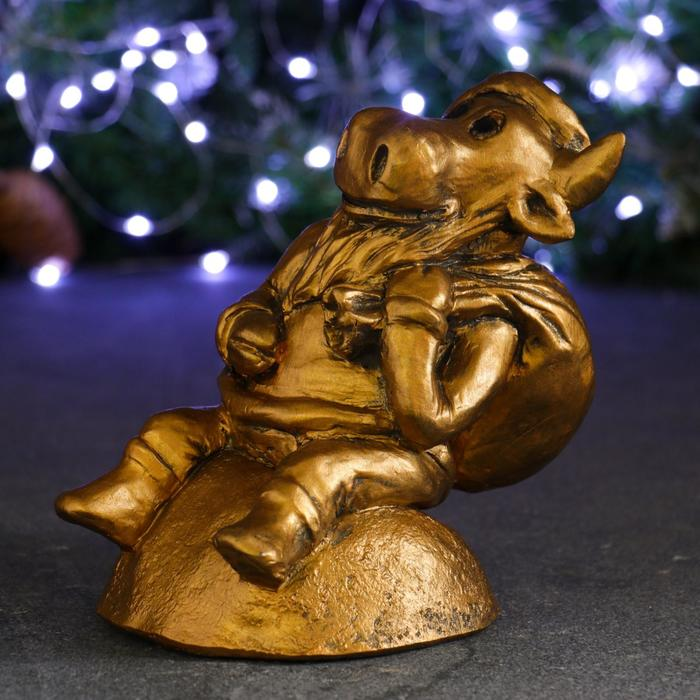 Копилка Символ года Бык Дед Мороз бронза