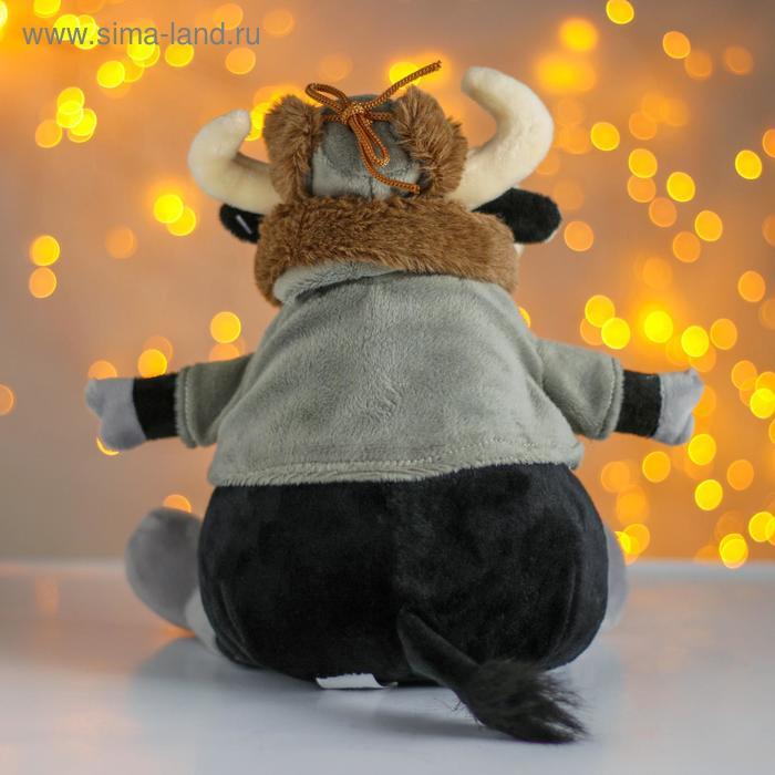 Мягкая игрушка «Бык», в шапке-ушанке, 20 см