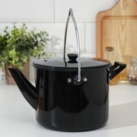 Чайник-котелок с декоративным покрытием 2,5 л, цвет чёрный