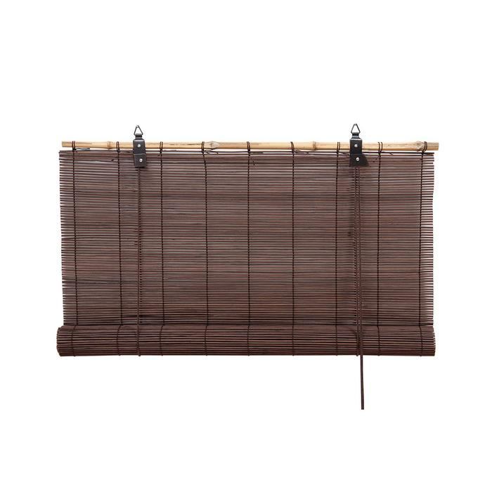 Бамбуковая рулонная штора, 100х160 см, цвет шоколадный