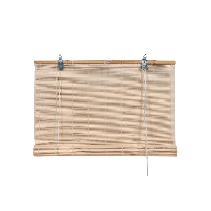 Бамбуковая рулонная штора, 120×160 см, цвет натуральный