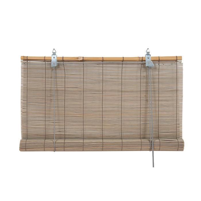 Бамбуковая рулонная штора, 120х160 см, цвет серый