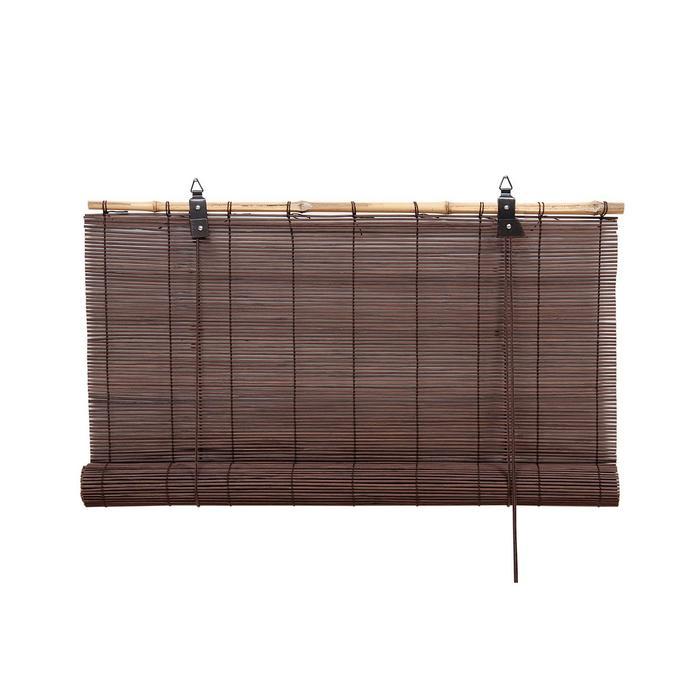 Бамбуковая рулонная штора, 140х160 см, цвет шоколадный