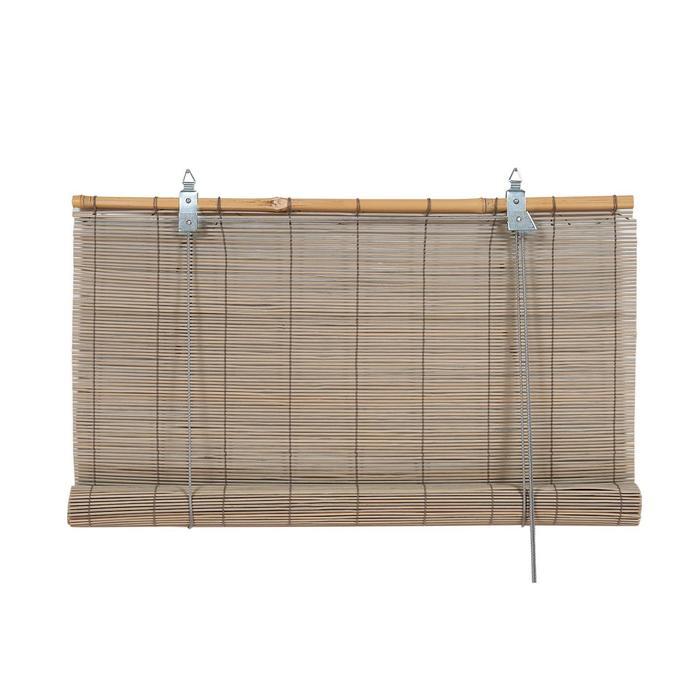 Бамбуковая рулонная штора, 160х160 см, цвет серый
