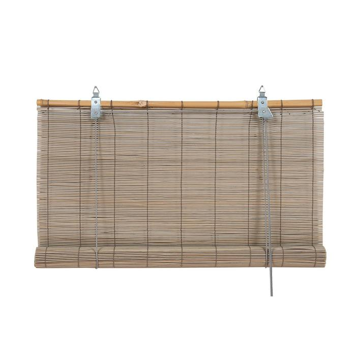 Бамбуковая рулонная штора, 60х160 см, цвет серый