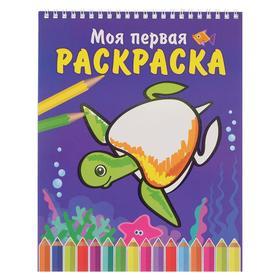 Раскраска на спирали «Морская черепаха», 16 стр., картон, бумага