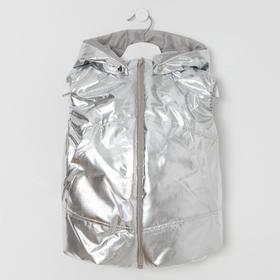 Жилетка для девочки, цвет серебро, рост 98-104 см Ош