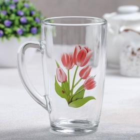 Кружка GiDGLASS «Весенние тюльпаны», 400 мл