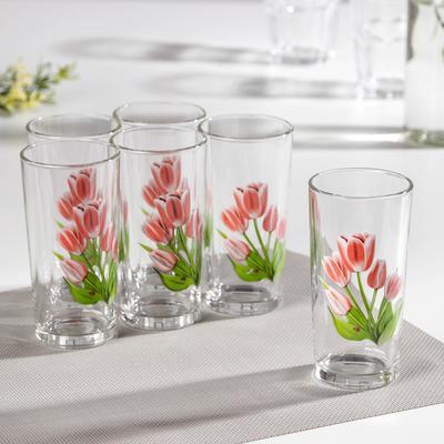 Набор стаканов «Весенние тюльпаны», 230 мл, 6 шт