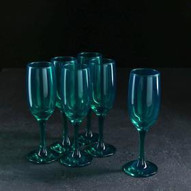 Набор бокалов для шампанского «Радуга», 190 мл, 6 шт, цвет изумруд
