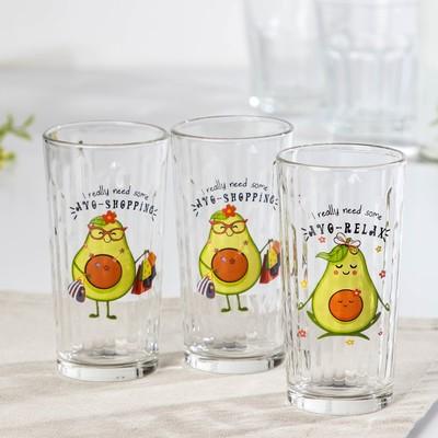 Набор стаканов GiDGLASS «Авокадо», 230 мл, 3 шт, МИКС