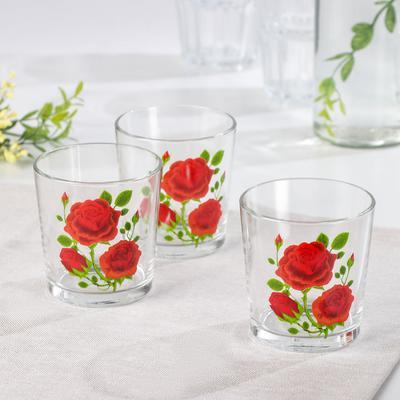Набор стаканов «Алая роза», 250 мл, 3 шт