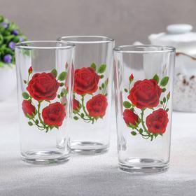 Набор стаканов «Алая роза», 230 мл, 3 шт