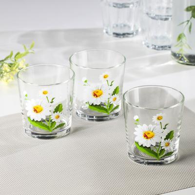 Набор стаканов «Белые ромашки», 250 мл, 3 шт