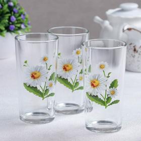 Набор стаканов «Белые ромашки», 230 мл, 3 шт