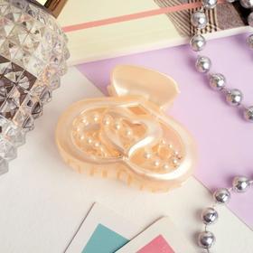 Краб для волос 'Перелив' сердечки с бусинками 6 см, микс Ош
