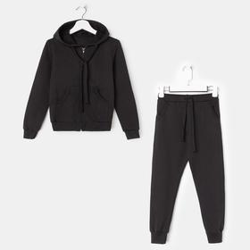 Спортивный костюм (толстовка, брюки) для мальчика, цвет чёрный, рост 104 см (30) Ош