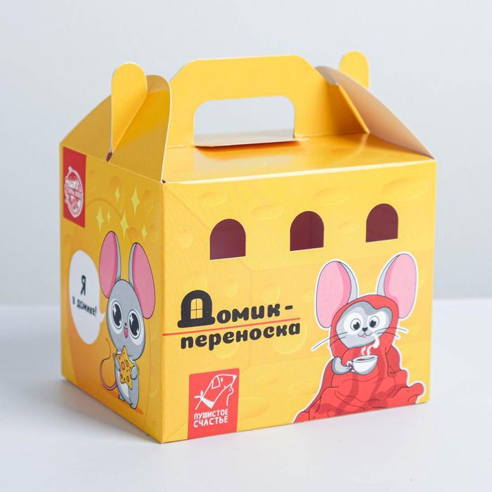 Переноска картонная для птиц и грызунов Сырный дом