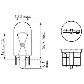 Лампа автомобильная Bosch, W2W, 12 В, 2 Вт, (W2,1x9,5d), 1987302223