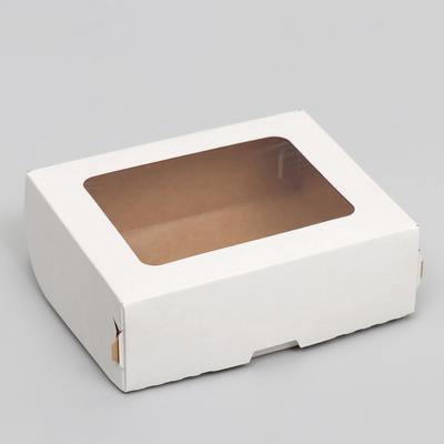 Контейнер на вынос, с окном, белый, 10 х 8 х 3,5 см - Фото 1
