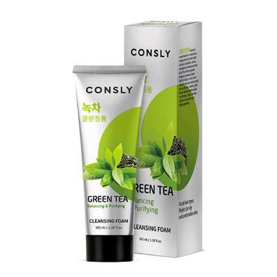 Балансирующая кремовая пенка для умывания Consly с экстрактом зеленого чая, 100 мл - Фото 1