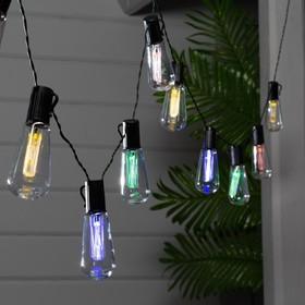 """Гирлянда """"Нить"""" 3.8 м с насадками Эра """"Лампочки"""", тёмная нить, 10 LED, свечение белое, 1 режим, солнечная батарея"""