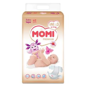 Подгузники MOMI Premium M (6-11 кг), 62 шт