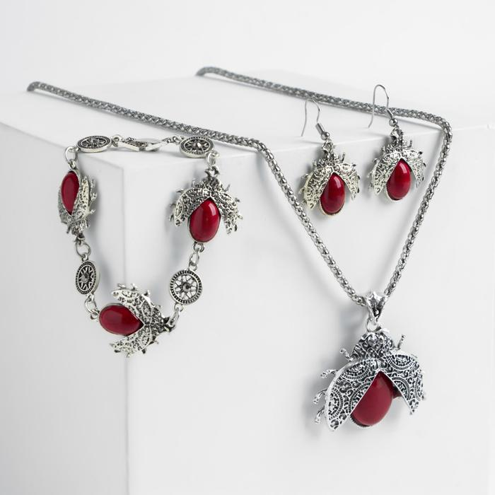 """Гарнитур 3 предмета: серьги, колье, браслет """"Скоробеи"""" цвет красный в серебре"""