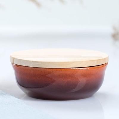 Набор для холодца 0,3 л (1 емкость с деревянной крышкой ) 13х6см, традиция - Фото 1