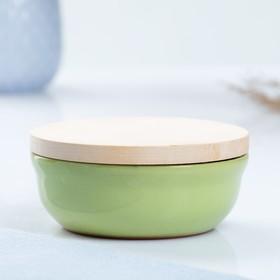 Набор для холодца 0,3 л (1 емкость с деревянной крышкой ) 13х6см, салатовый