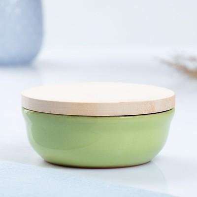 Набор для холодца 0,3 л (1 емкость с деревянной крышкой ) 13х6см, салатовый - Фото 1