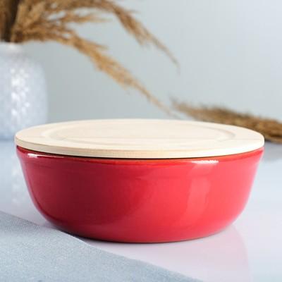 Набор для холодца 0,5 л (1 емкость с деревянной крышкой ) 17х6,5см, красный - Фото 1