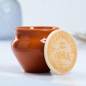 Набор для меда №2 (0,25л + ложка для мёда), терракота Ош
