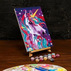 Картина по номерам на холсте с подрамником «Единорог в ночи» 20×30 см