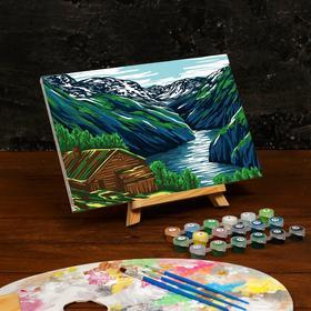 Картина по номерам на холсте с подрамником «Горы» 20×30 см