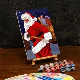 Картина по номерам на холсте с подрамником «Санта с подарками» 20×30 см