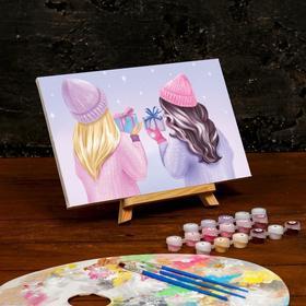 Картина по номерам на холсте с подрамником «Подружки» 20×30 см