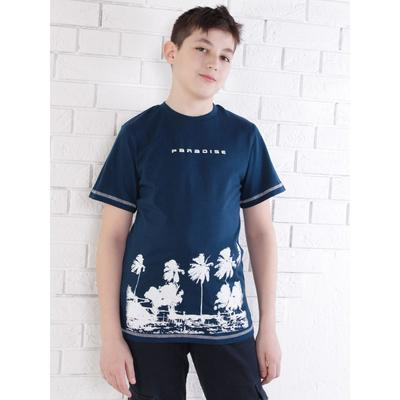 Футболка для мальчика, цвет тёмно-синий, рост 128 см - Фото 1
