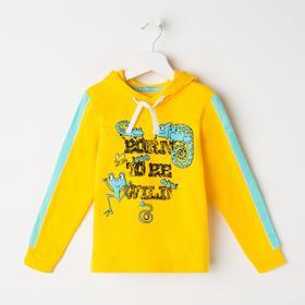 Толстовка для мальчика, цвет жёлтый/светло-ментоловый, рост 98 см