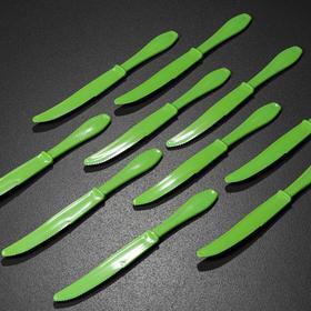 Набор ножей столовых, многоразовые, цвет зелёный
