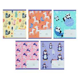 """Тетрадь 18 листов в линейку """"Животные"""", обложка мелованный картон, выборочный лак, блок офсет"""