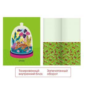 Тетрадь 48 листов в клетку GREEN. Дизайн 3, обложка мелованный картон, матовая ламинация, тонированный блок