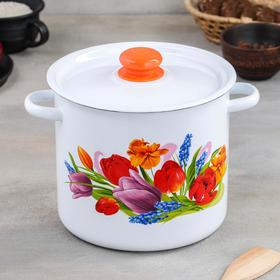 Кастрюля цилиндрическая «Тюльпан Май», 5,5 л, с кнопкой, цвет белый