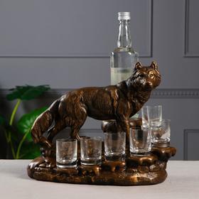 """Мини-бар """"Волк"""" цвет коричнево-золотой, 36 см × 23 см × 28 см"""